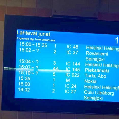 Junaliikenne pysäytettiin viranomaismääräyksestä Tampereen rautatieasemalla keskiviikkona iltapäivällä.