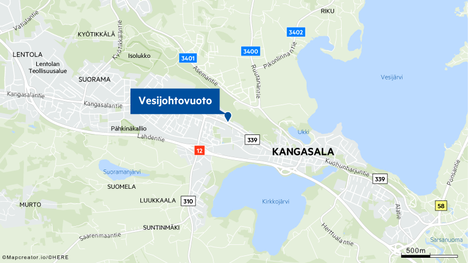 Vesijohtovuoto on sattunut Kangasalantiellä.
