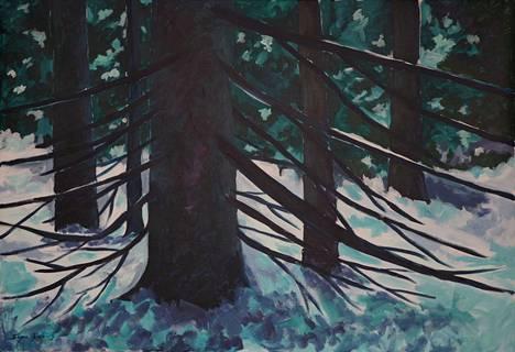 """""""Mihin valo katoaa"""" on Sirpa Ojalan akryylimaalaus kankaalle."""