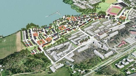 Asemakaavan luonnoksen havainnekuvassa näkyy uusien asuntojen sijoittuminen rannan ja olemassa olevan asutuksen väliin.