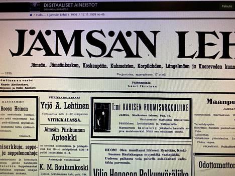 Jämsässä toimi vielä 1930-luvulla useampia paikallislehtiä.