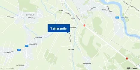 Palava auto ajoi Tattarantiellä Nakkilassa.
