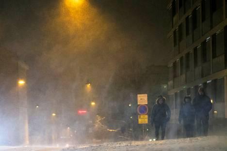 Lumisateet voivat jatkua Pirkanmaalla heikkoina läpi tiistain ja keskiviikon välisen yön. Tältä illalla näytti Tampereen Armonkalliolla.