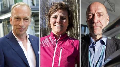 Erkki Solja (vas.), Tuija Schmidt ja Jari Ollila tienasivat vuonna 2019 yli miljoona euroa ja pyysivät nimensä piilottamista verottajan listalta.