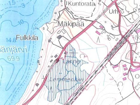 Suunniteltu avohakkuualue on merkitty kartalle sinisin pystyviivoin.