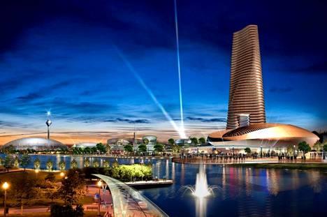 """Kankaan visioissa Porin kaupunki olisi voinut näyttää tällaiselta vuonna 2030. """"Pori New City"""" eli Kankaan esittelemä Master Plan on visualisoitu yhdysvaltalaisen GDS Architect -toimiston avulla."""