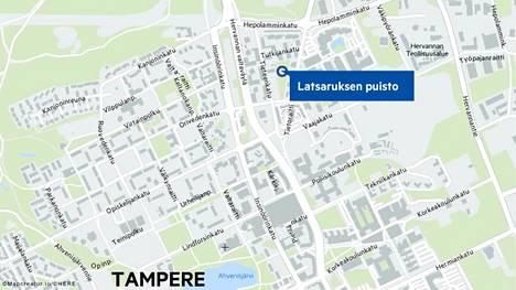 Latsaruksen puisto rajautuu Tieteenkatuun, Tutkijankatuun, Tietoraittiin ja Latsaruksen polkuun. Uusi puisto on kolmion muotoinen.