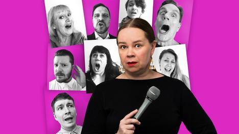 Katja Küttner esittää Radioteatterin komediassa paikallisradion kirjanpitäjää, joka päätyy tekemään kaupunkinsa kuorosta dokumenttia.