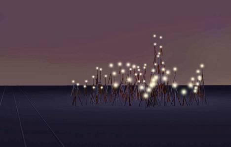 Havainnekuva Vuohenojalle nousevasta valaistusta voittajateoksesta yöaikaan.