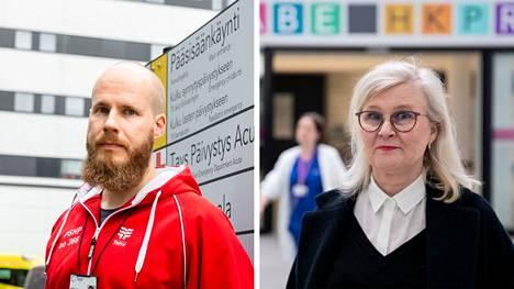 Tehyn Pirkanmaan sairaanhoitopiirin pääluottamushenkilön Atte Tahvola ja Pirkanmaan sairaanhoitopiirin HR-johtaja Raija Ruoranen