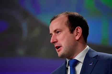 Ympäristöstä ja kalastuksesta vastaava EU- komissaari Virginijus Sinkevičius esitteli EU:n metsästrategiaa Brysselissä perjantaina.