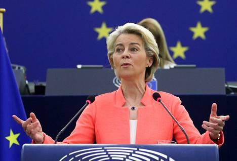 EU-komission puheenjohtaja Ursula von der Leyen piti puheen Euroopan parlamentille keskiviikkona 15. syyskuuta 2021.