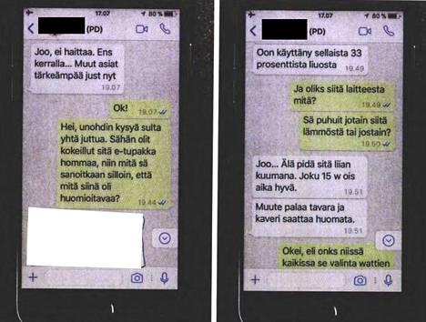 Näin Helsingin huumeseksiringin osapuolet viestittelivät metamfetamiinin syöttämisestä sähkötupakkaan.