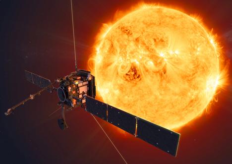 Solar Orbiter -luotaimen kiertorata koukkaa lähimmillään reilun 40 miljoonan kilometrin etäisyydelle Auringosta. Euroopan avaruusjärjestön kuvituskuva.