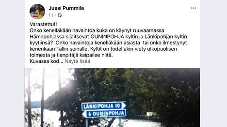 Jussi Pummila kyselee silminnäkijähavaintoja myös Facebook-julkaisussaan.