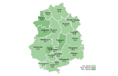 Kartassa näkyy työttömien työhakijoiden osuus työvoimasta kunnittain Pirkanmaalla huhtikuussa.