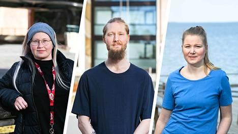 Anne-Mari Kaitemo, Roope Komonen ja Tiina Koljonen ovat nyt kevään ajan uusissa tehtävissä, kun päiväkotien toiminta on supistunut Tampereen kaupungilla koronavirusepidemian seurauksena.