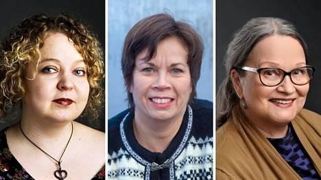 Sunnuntaina Pirkkalaiskirjailijoiden osuudessa Kirjaviikon Aulaklubilla esiintyivät muun muassa Niina Hakalahti (vas.), Päivi Alasalmi ja Kristiina Harjula.