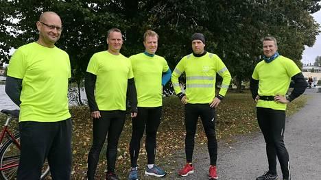 Telilän viisikko Janne Virtanen, Johannes Harjula, Pekka Telilä, Mikael Raijala ja Tero Mustalahti kuvattiin Sastamalan Kuntokierroksella viime syksynä.