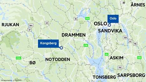 Kongsberg sijaitsee noin tunnin ajomatkan päässä Norjan pääkaupunki Oslosta.