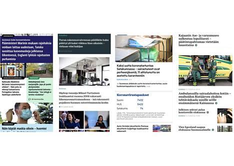Julkisen palvelun Yleisradion julkaisema uutissisältö on varsin samankaltaista kuin maakuntalehtien. Kuvassa vasemmalla Ylen, keskellä Turun Sanomien ja oikealla Satakunnan Kansan mobiilietusivua.