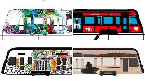 Värivirta (vasemmalla ylhäällä) on kunnianosoitus Tampereen ratikalle ja Tammerkoskelle. Rakkauden ratikan (oikealla ylhäällä) sanoma on, että niin taide, rakkaus kuin ratikkakin kuuluvat kaikille. Kukkakedon pultereita (vasemmalla alhaalla) on kuin maisemien vilinä ratikan ikkunasta. Matkalla järvien välissä (oikealla alhaalla) kuvaa Näsijärven ja Pyhäjärven välistä kannasta, jossa ratikka kulkee.