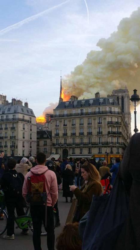 Pariisissa palaa Norte Damen katedraali.