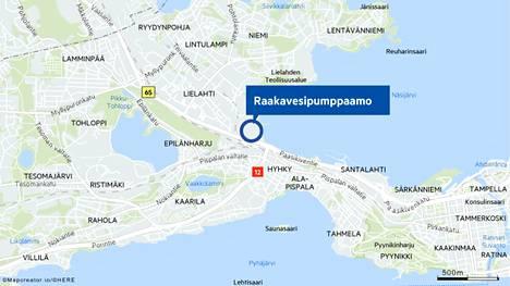 Lielahden maakaasuvoimalan raakavesipumppaamo sijaitsee Hiedanrannan puolella. Pelastuslaitoksen hälytys tuli Paasikiventielle.