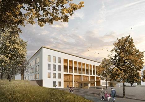 Tältä uusi koulu näyttää arkkitehtitoimiston havainnekuvissa. Koulusta tulee nelikerroksinen.