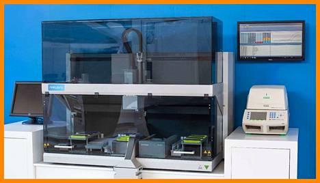 Kuvassa on Mobidiagin Novodiag-alusta. Sen Covid-19-testi on tulossa markkinoille lähitulevaisuudessa.