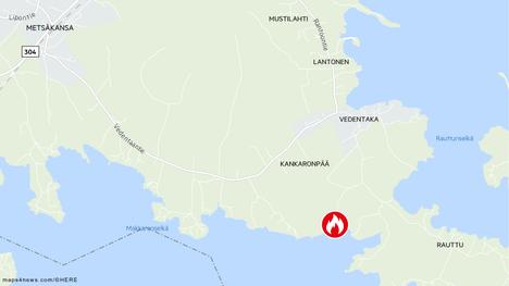 Pelastuslaitos sai torstaina hälytyksen maastopalosta Lehtotielle Valkeakoskella.