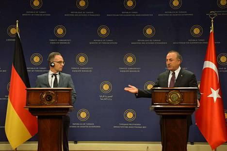 Saksan ulkoministeri Heiko Maas ja Turkin ulkoministeri Mevlüt Cavusoglun pitivät yhteisen tiedotustilaisuuden lauantaina Turkin Ankarassa.