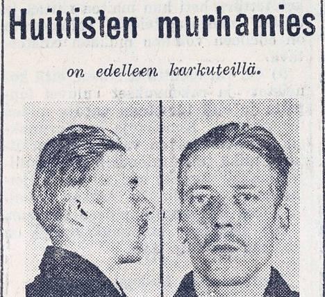 Aivan tavallinen vanki, josta tuli kuuden ihmisen murhaaja. Etsintäkuulutetun Kirves-Koljosen kasvot koristivat Satakunnan Kansan sivua 25. maaliskuuta vuonna 1943.
