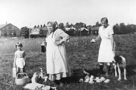 Kahvitauolla pellolla Knuutilan rakennusten koillispuolella. Kuvausaika on ajoitettu 1940–1970. Kuva Ossi Somma / Nokian kaupungin kuvakokoelma.