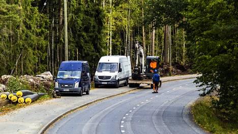 Valkeakosken Energian työmaa Kangasalantiellä Valkeakoskella 23. syyskuuta.