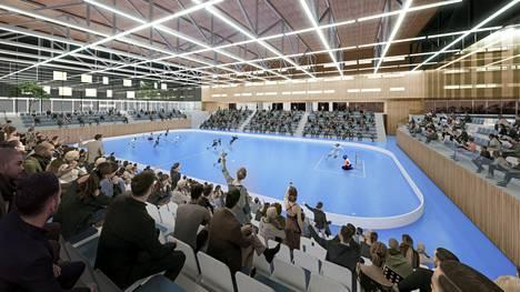 Havainnekuva Hakametsän Sport Campuksen hybridikorttelin monitoimiareenasta.