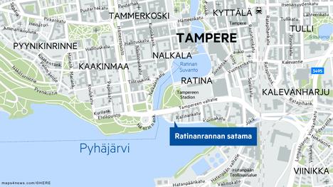 Palo syttyi Ratinanrannan satamassa noin kello 20.14.