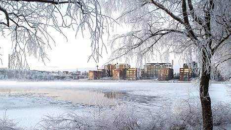 Antero Tenhusen mielestä pitää kuvata kohdetta päivällä, yöllä ja rumalla ilmalla sekä ympäri vuoden. Näin koostuu tapahtumien kaari dokumentiksi. Tässä on uutta Ratinaa talvisessa asussa.