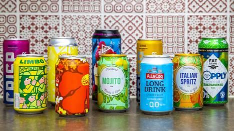 Juomatestin tuotteet ostettiin tavallisista ruokakaupoista. Alkoholittomien vaihtoehtojen tarjonta on parantunut merkittävästi, eikä alkoholia välttelevän tarvitse lipittää vain limonadia.