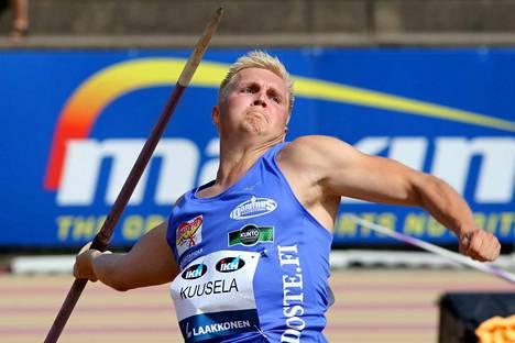 Toni Kuusela on yksi Suomen miesten kolmesta keihäänheittäjästä viikonlopun Ruotsi-ottelussa.