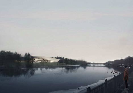 Arto Ollilan diplomityö kertoo, mitä kokoluokkaa rakennus voisi olla Karjarannan suunasta katsottuna. Havainnekuvalla ei ole tekemistä mahdollisen kylpylähotellin toteutuvalla ulkonäöllä.