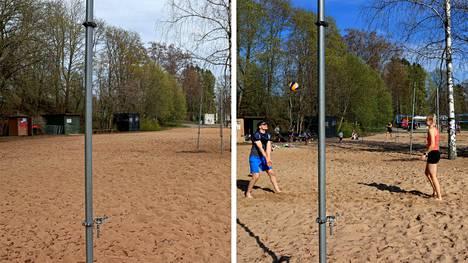 Vielä maanantaina 10. toukokuuta 2021 Pyynikin rannalla oli hiljaista. Aurinko ja lämpö houkuttelivat tiistaina 11. toukokuuta väkeä paikalle. Kuvassa rantalentopalloa pelaamassa Teemu Kakko ja Sandra Soutolahti, joille pelipäivä Pyynikillä oli tämän kevään ensimmäinen.