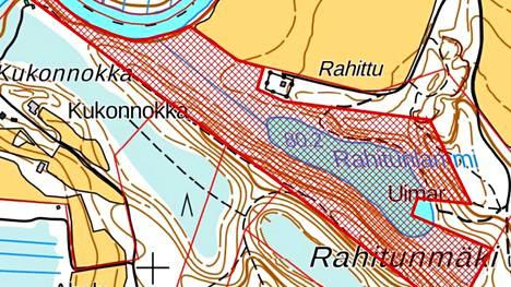 Ely-keskuksen ostotarjous koskee kuvassa punaisella rasterilla merkittyä aluetta.