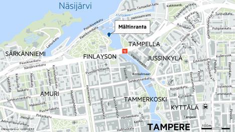 Tampereen Mältinrannassa olleet vaatteet herättivät ohikulkijan huomion.