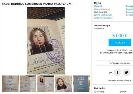 Huuto.net-sivustolla on myynnissä Baddingin vanha passi.