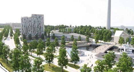 Kaavaehdotuksessa on mukana Kortelahden yli suunniteltu silta Mustalahden satamasta Särkänniemen huvipuiston alueelle. Huvipuisto laajenisi nykyiselle parkkipaikalle. Vasemmalla havainnekuvassa hotelli ja sen vieressä järvikeskuksen rakennus.