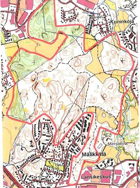 Kuvassa ehdotettu luonnonsuojelualue on rajattu punaisella viivalla.