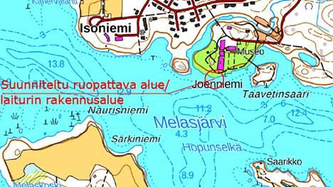 Karttaan on merkitty punaisella alue, jonka ruoppaamiseen Gösta Serlachiuksen Taidesäätiö on saanut luvan Aluehallintovirastolta. Ruopatulle alueelle rakennetaan myös laituri.
