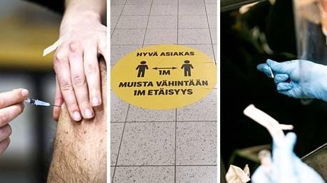 Koronavirusrokotukset ovat täydessä vauhdissa eri puolilla maailmaa. Esimerkiksi Suomessa turvaväleihin ohjeistavat tarrat pysynevät kuitenkin osana arkea vielä pitkään.