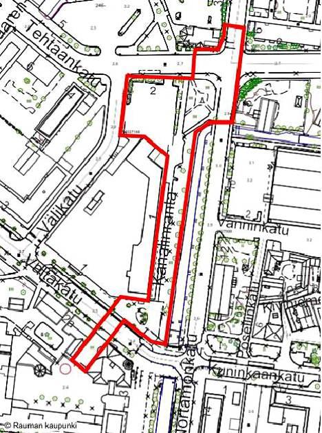 Kanalin länsirannan työmaalue rajattuna punaisella viivalla kartalla.